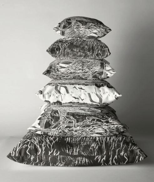 lino cut pillows
