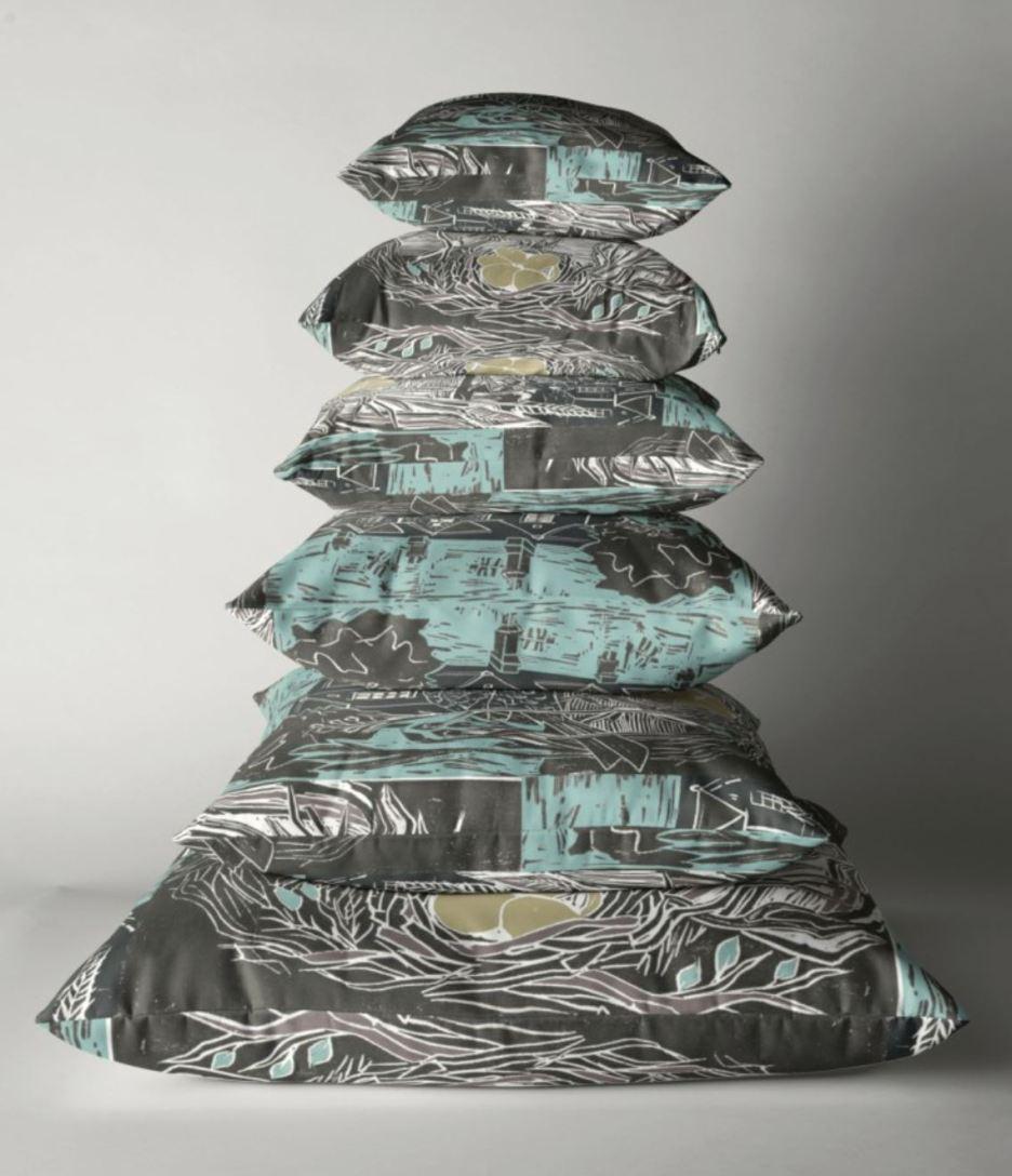 bedford cottages blue pillow pile