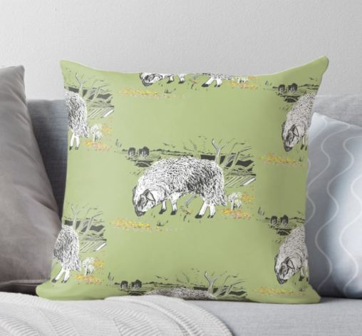dartmoor sheep moorland green cushion