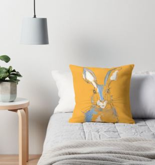 mustard summer hare cushion 2