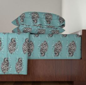 partridge teal bed spread