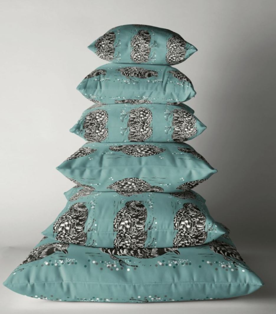 partridge teal cushion pile