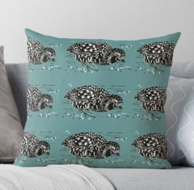 Partridge teal cushion