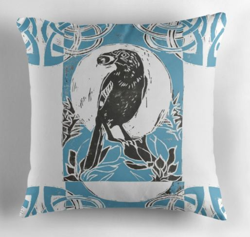 Jay in gorse blue pillow